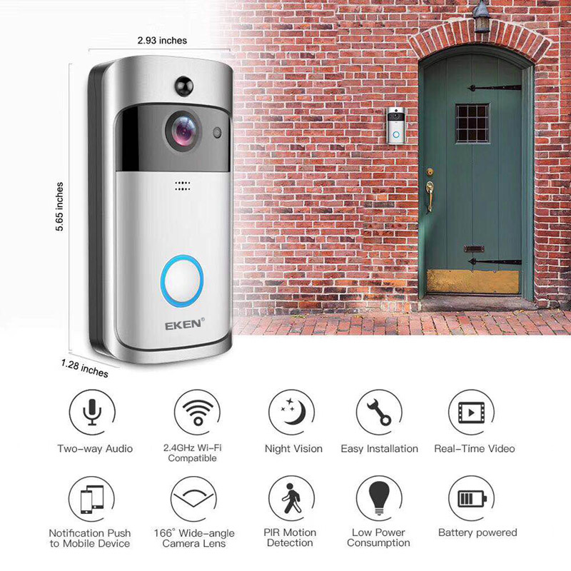 EKEN V5 Wireless Video Doorbell with Smart Security Visual Recording and Night Vision 3