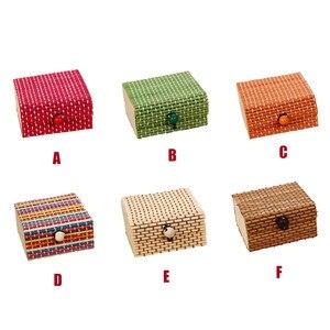 Image 2 - Бамбуковая деревянная настольная корзина для хранения, контейнер для мелочи, органайзер для ювелирных изделий, коробка для хранения, ремешок, ремесло, квадратный чехол, органайзер, чехлы