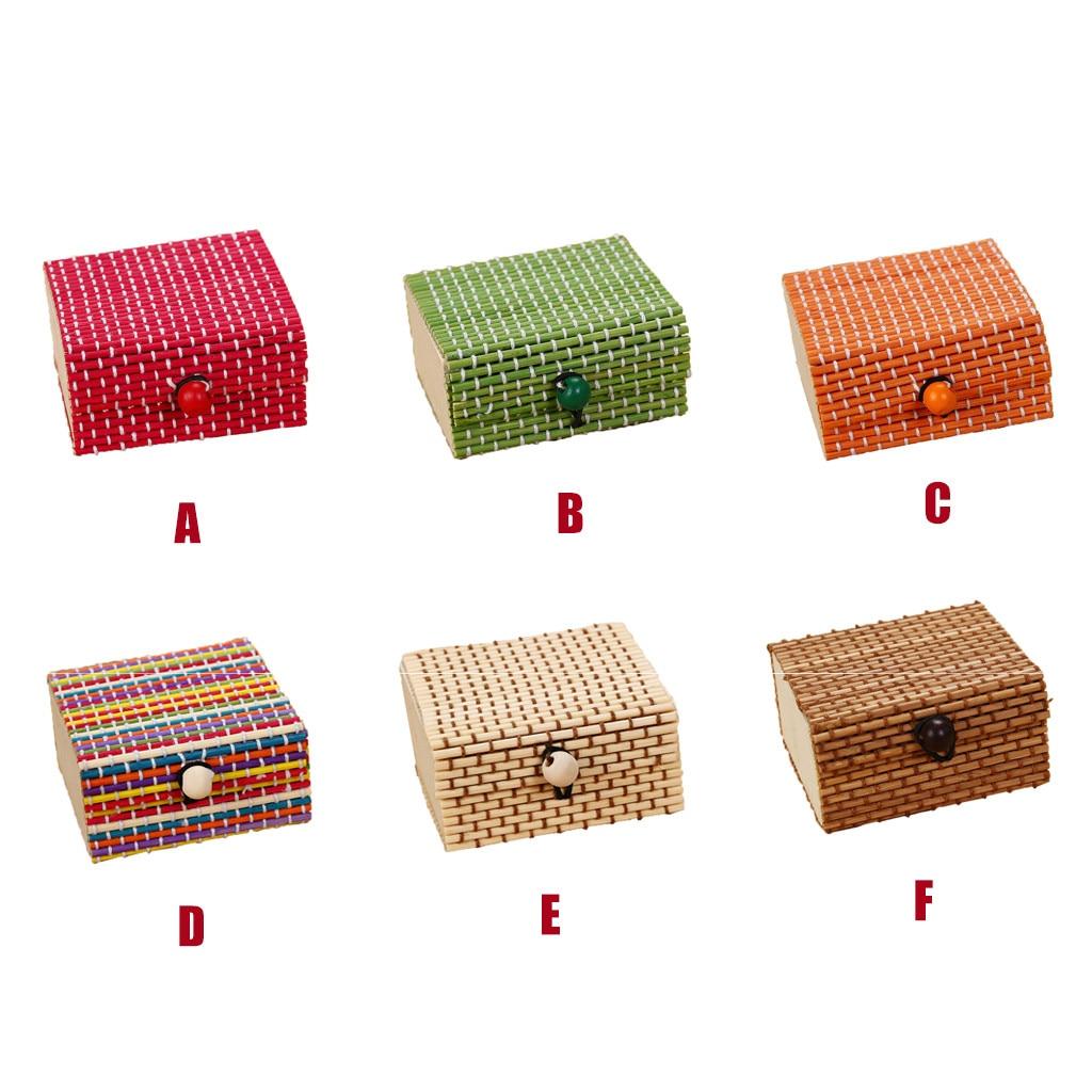 Image 2 - Bamboo Wooden Desktop Storage Basket Sundries Container Jewelry Organizer Storage Box Strap Craft Square Case Organizer Cases-in Storage Boxes & Bins from Home & Garden