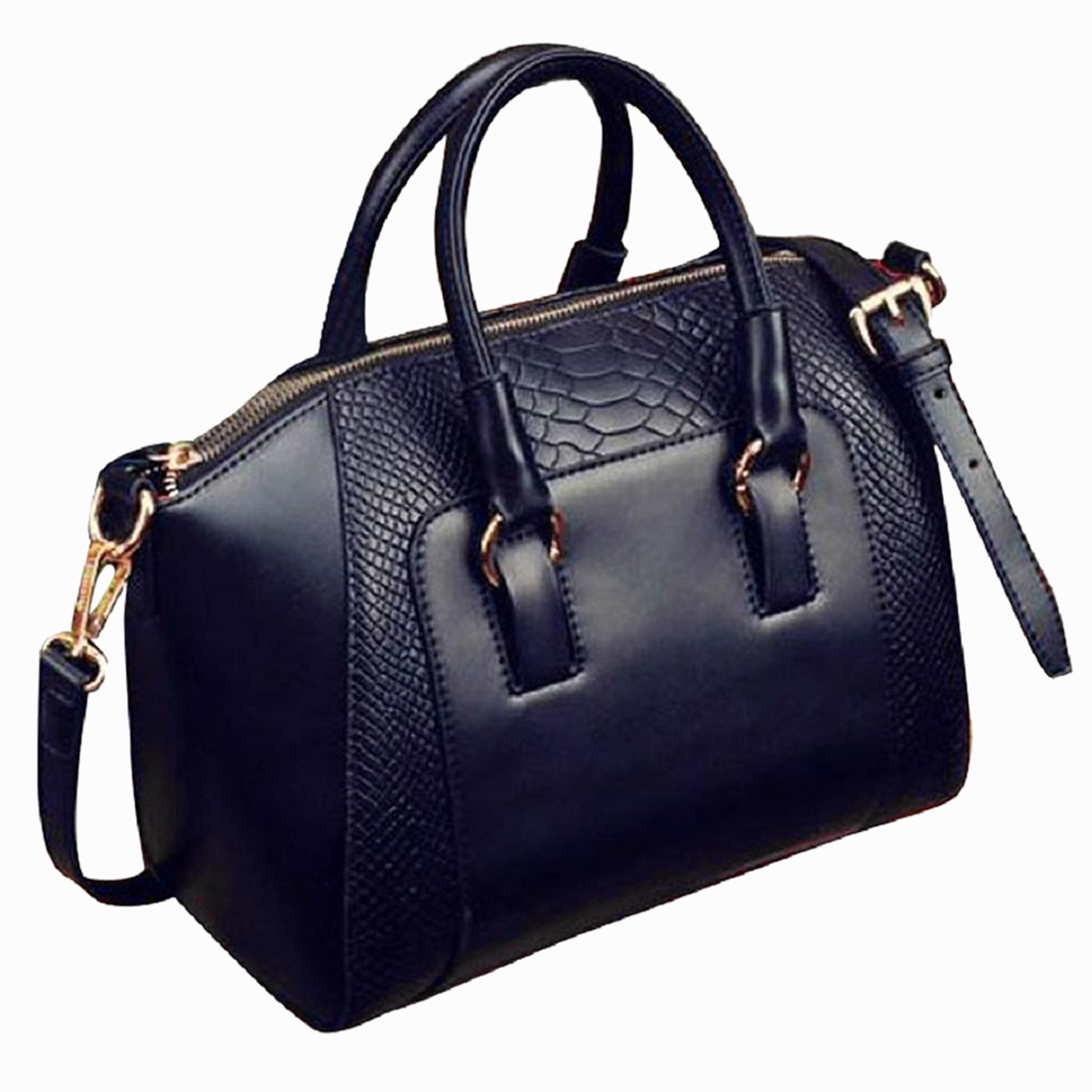 Women's Shoulder Bag In Imitation Leather Satchel Cross Body Tote Bag (Black)