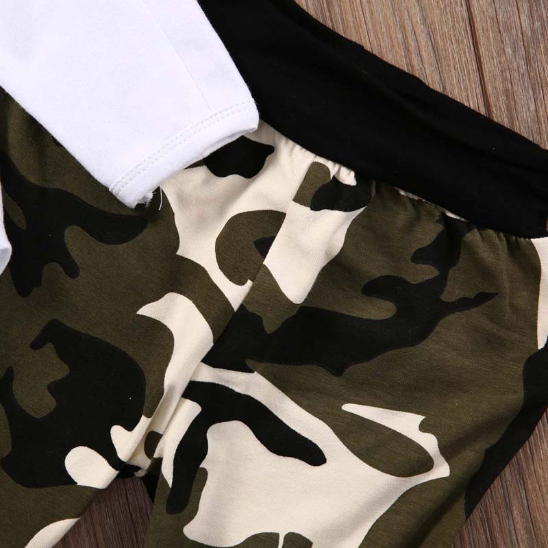 Newborn Kids Baby Boy Clothes Long Sleeve Romper+Camouflage Pants+Hat 3pcs Outfits Set 0-24M