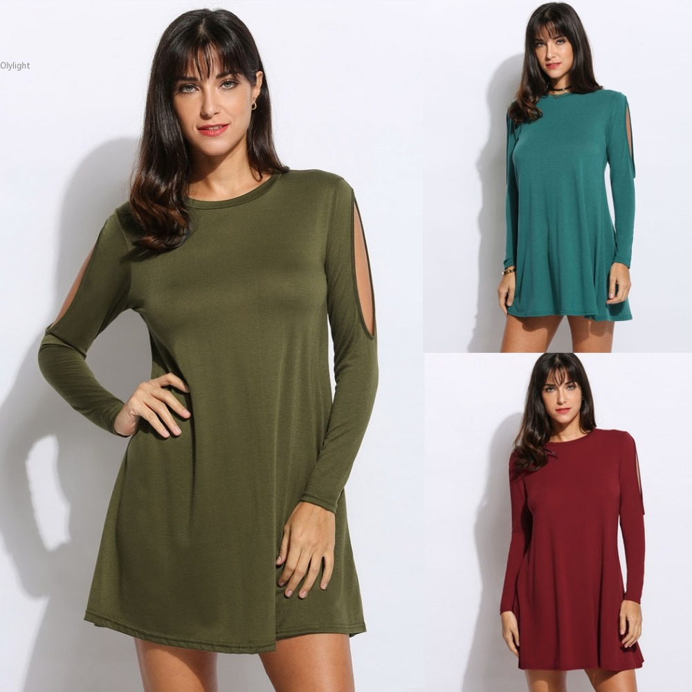 Women fashion Dresses Cold Shoulder lady Sexy Long Sleeve