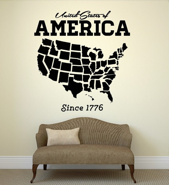 wall decal united states usa map state coolest room art vinyl stickers