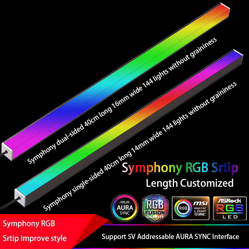 Symphony Chassis Lights Magnetic RGB Strip 40CM Pollution Atmosphere 5V Or 12V ASUS AURA SYNC