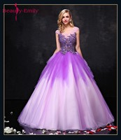 Beauty Emily New Sexy Long Purple Tulle Evening Dresses 2018 Ball Gown Sleeveless Lace Up Formal