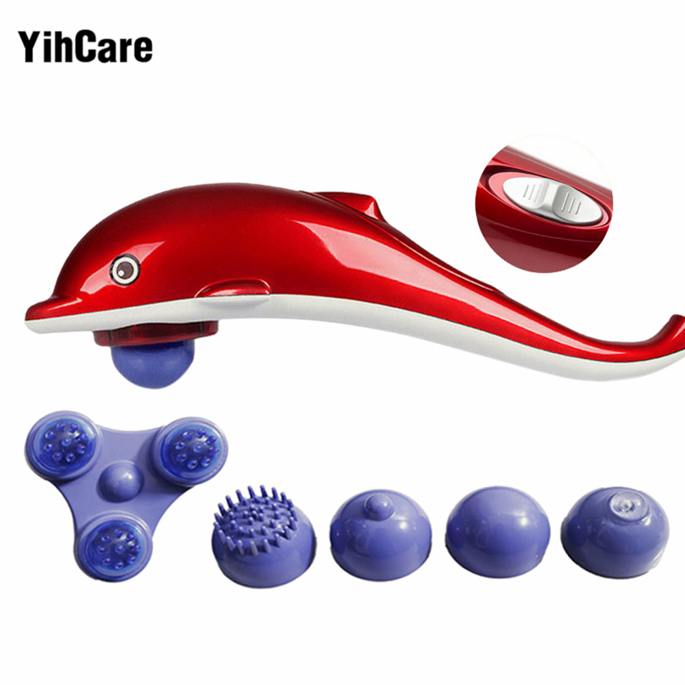 YihCare Dolphin Electric Neck Massager Infrared Massage Hammer Multifunctional Cervical Vertebra Massager Stick Full Body Relax electric gold dolphin massager neck massage hammer multifunctional full body free shipping