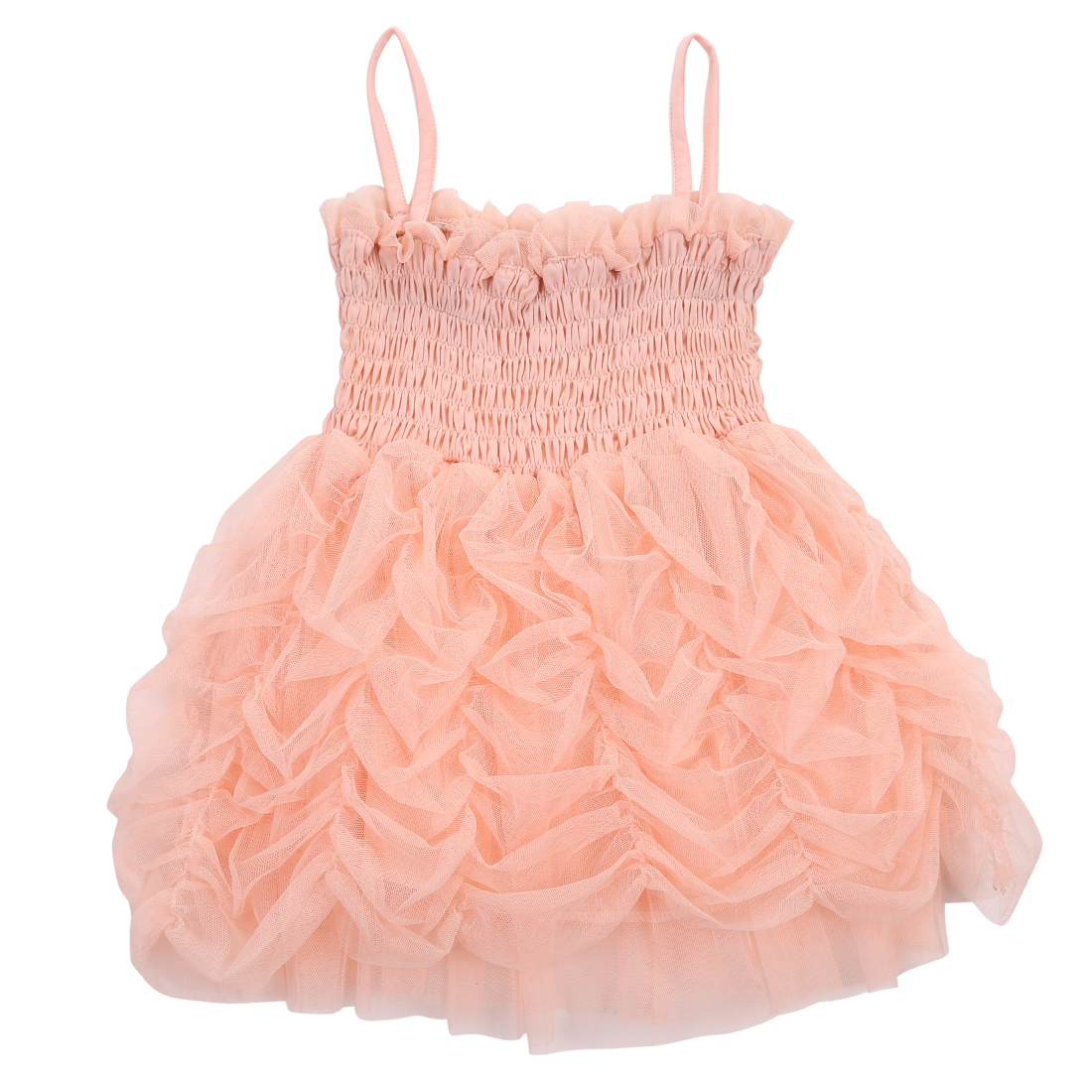 Summer New Girls Cute Tutu Dresses Mesh Baby Girl Pink Princess Party Sleeveless Strap Ruffle Summer Bubble Tutu Dress 1-6Y