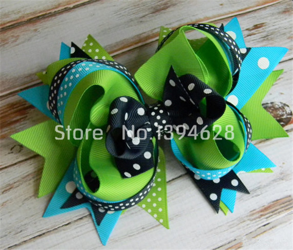 5Girls hair bows Navy blue, Turquoise and Green polka dot hair bows for girls, toddler, baby, Big hair bow, Stacked hair bows