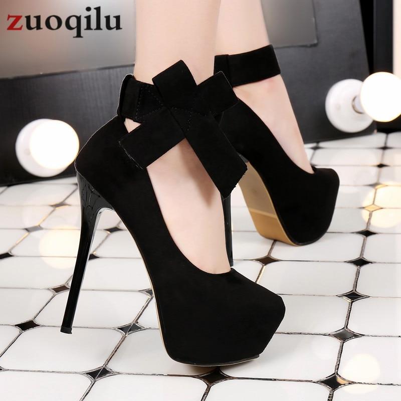 2019 Platform High Heels Shoes Woman Bow Wedding Shoes 14 Cm Platform Heels Shoes Stiletto Bridal Pumps Women Shoes #black