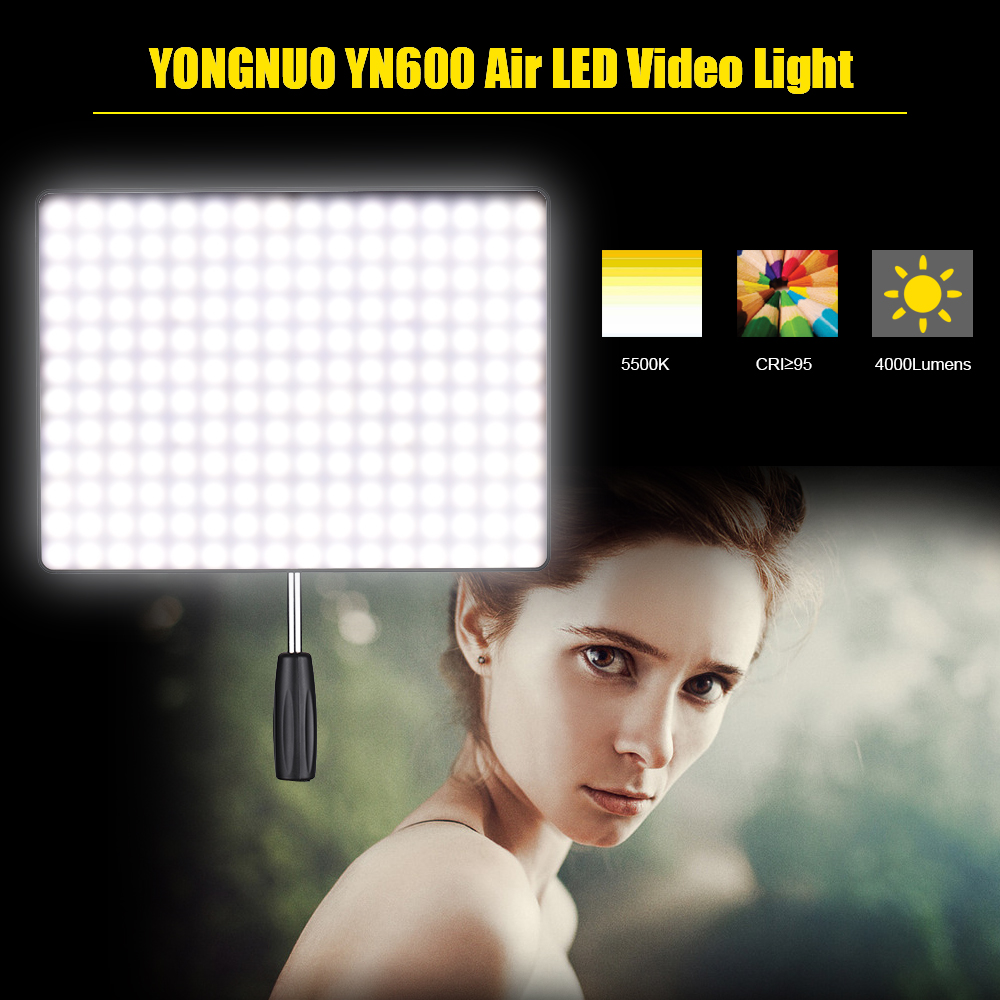 In Stock! NEW YONGNUO YN600 Air Led Video Light Panel 5500K and 3200K-5500K Bi-color Photography Studio LightingIn Stock! NEW YONGNUO YN600 Air Led Video Light Panel 5500K and 3200K-5500K Bi-color Photography Studio Lighting