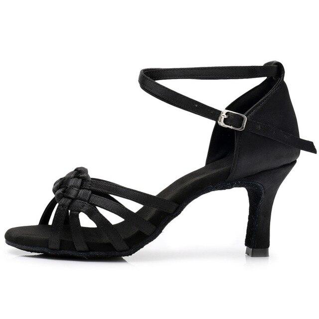 New Women's Latin Dance Shoes Ballroom Tango Ladies Girls Comfortable Satin Dancing Shoes For Women Grils Red White 5/7CM Heel 2