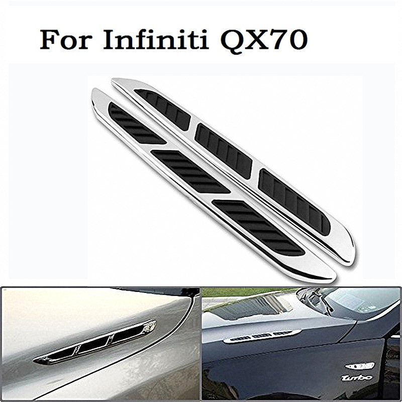 2017 3D Metal Car Chrome Grille Shark Gill Simulation Air Flow Vent Fender Decals Stickers Decoration Cover For Infiniti QX70 gill hasson positive thinking