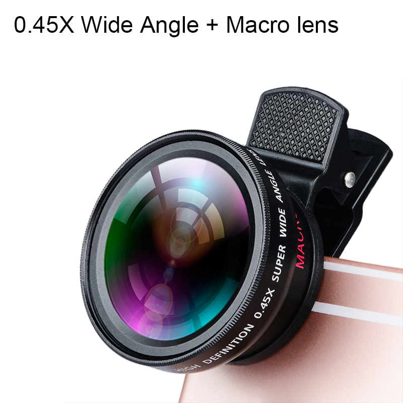 HD 2 in 1 0.45X Wide Angle + Macro lens Universal Mobile Phone Lenses kit Clip for Iphone for Samsung for 99% Cell Phone
