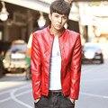Мужчины искусственной кожи куртки и пальто jaqueta де couro мотоциклетная куртка байкер бомбардировщик хорошее PU Черный Slim fit М до XXL падение доставка