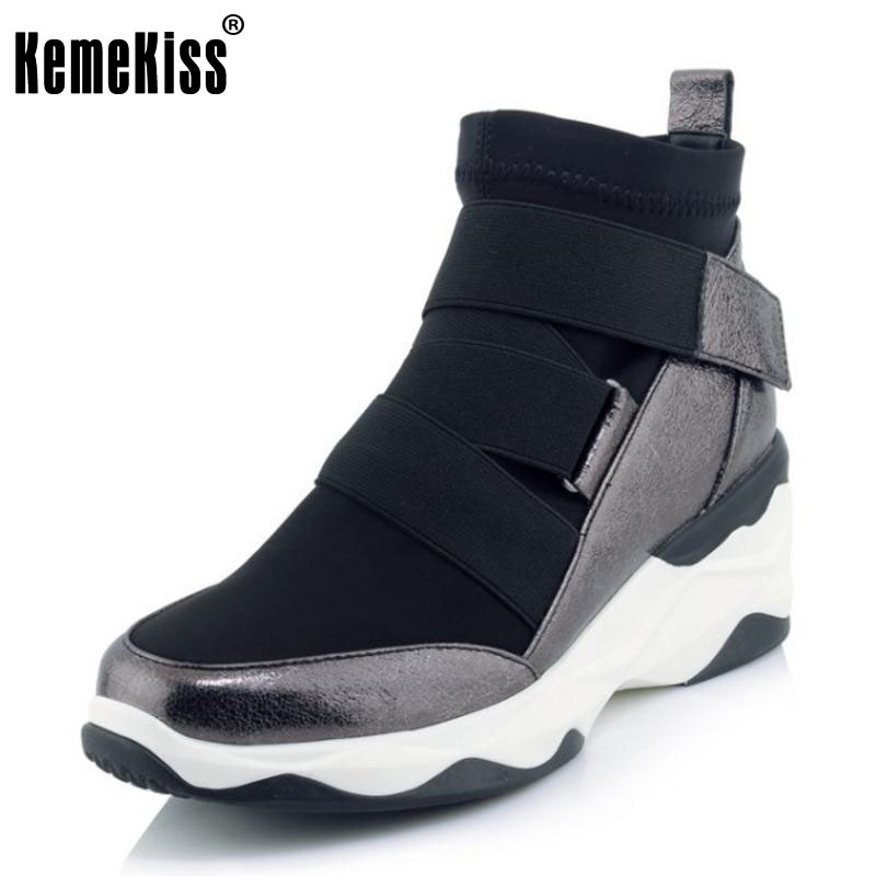 KemeKiss Women Genuine Leather Half Short Wedges Boots In Cold Winter Boots Warm Fur Shoes Short Botas Women Footwear Size 34-39