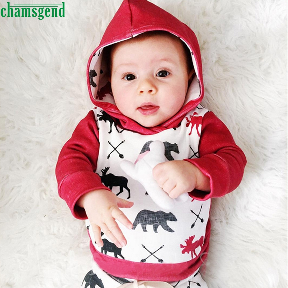 CHAMSGEND Red Toddler Infant Baby Boy Girl Deer Bear Character Full Cotton Hoodie Tops+P ...