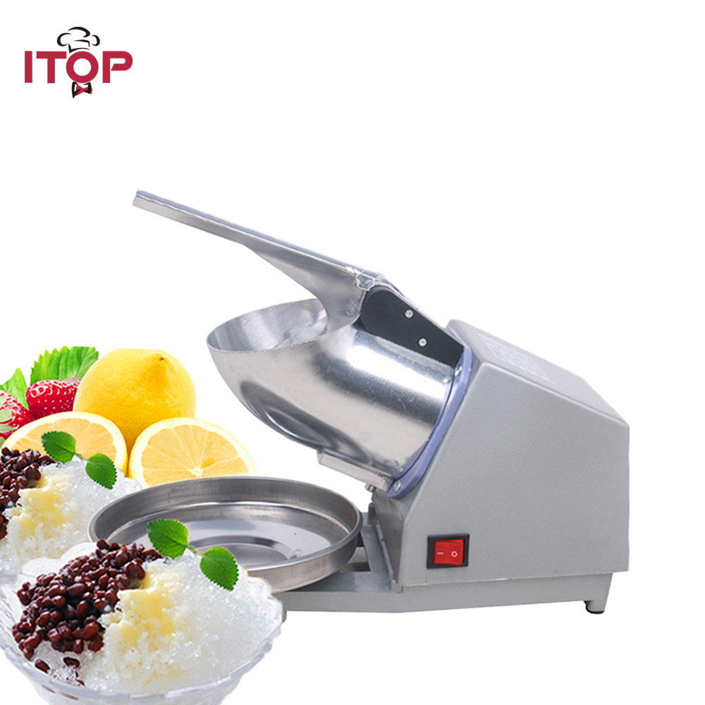 ITOP Electric Ice Crusher, Ice Shaver Machine, Snow Cone Maker, Shaved Ice Machine, 110V/220V/240V UL/UK/EU plug stainless steel electric ice shavers crusher chopper ice slush maker icecream snow cone ice block breaking machine eu us plug