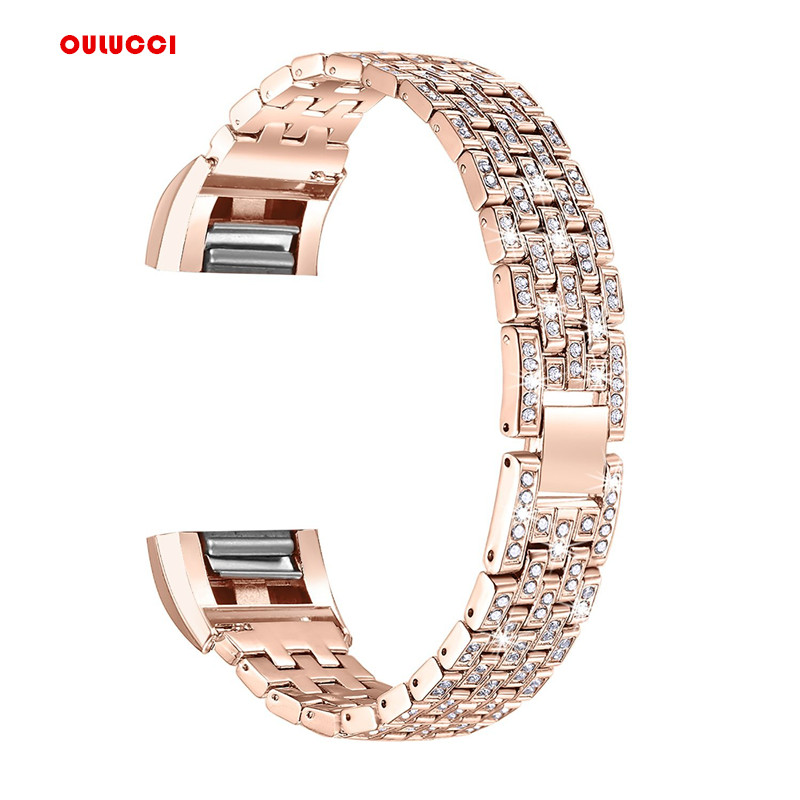 Watch Band For Fitbit Charge 2, Replacement Metal Bracelet Adjustable Fitbit charge 2 Bands with Rhinestone rhinestone embellished metal bracelet set