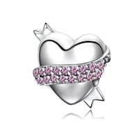 Leo Bon New Arrival 925 Sterling Silver Love Ribbons Paved Pink CZ Stones Heart Charm For
