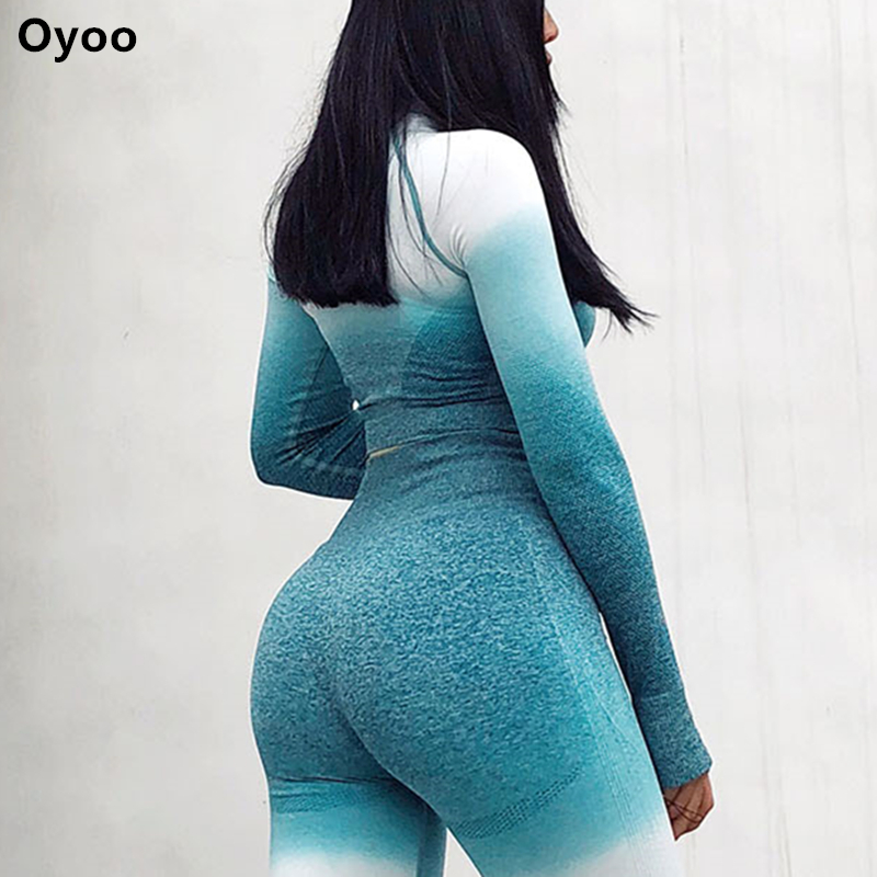 Oyoo frauen Lange Ärmeln Workout Crop Top Dünne Ombre Fitness Sport Hemd Sexy Gym Kleidung Blau Yoga Top Mit daumen Loch