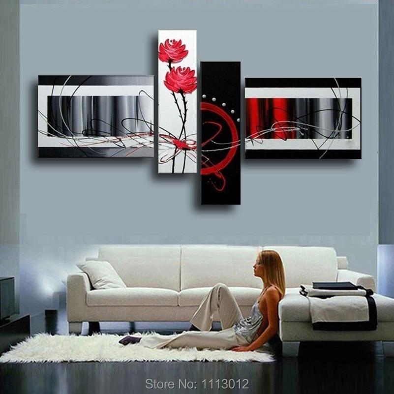 Högkvalitativ heminredning på kanfasblomma oljemålning Stor röd vit modern abstrakt hemmaväggkonstbild för vardagsrum