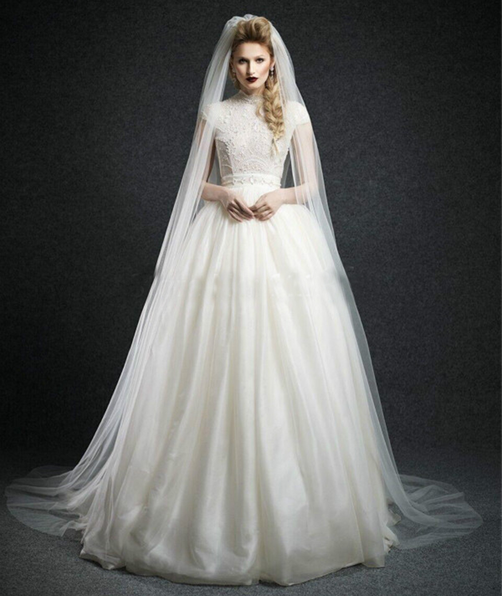 Wedding Gown Veil: White 1 Layer Soft Tulle Cathedral Length Bridal Veils