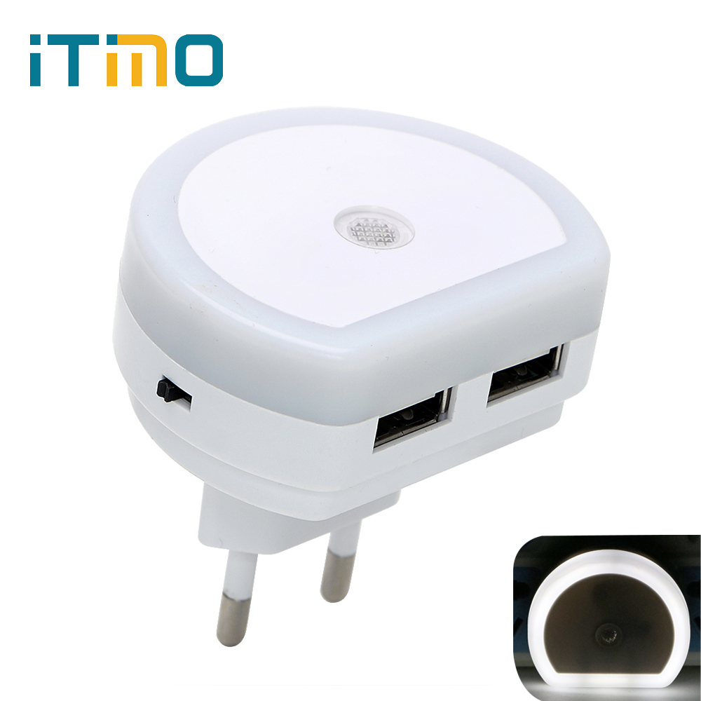 iTimo LED Night Light with Dual USB Port 5V 1A Light Sensor Control Room Home Lighting Plug-in Wall Lamp EU/US Plug Socket Lamp high quality universal smart fuse circuit breaker protection dual usb port 5v 2 1a 1a car charger for mobile phones tablet pc