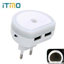 iTimo LED Night Light with Dual USB Port 5V 1A Light Sensor Control Room Home Lighting