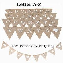 Индивидуальные вечерние флаги с буквенным A-Z No.0-9 Diy джутовые мешковины флаги для баннеров Конфета Свадебные украшения для детского душа