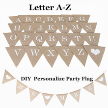 Personalizar fiesta bandera, letra A-Z No.0-9 Diy yute arpillera empavesado banderas Candy Bar decoración de la boda Favor de la ducha de bebé
