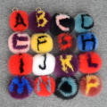 English letters personalized custom fur ball key chain Fox circular name pendant Pom Pom  shoulders bag keychains car ring