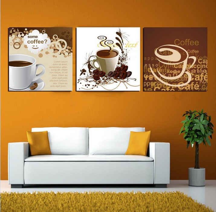 Art Deco Wall Pictures 3 Panel Canvas Art Chinese Painting Coffee Tea Art Home Decor Modern