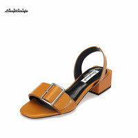 New pattern feminino Sandales Size:34 35 39 Elegant women shoes Metal buckle Party Sandalias Novia o Dama shoes Damensandalette