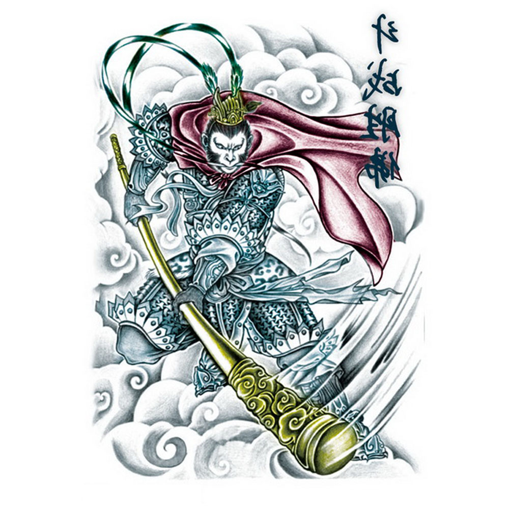 Yeeech Temporary Tattoos Sticker for Men Large Fake Monkey King Chinese Sun Wukong Designs Arm Leg Sexy Body Art Waterproof