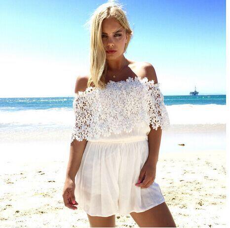 Vancol 2016 mulheres calções macacão branco patchwork verão sexy fora do ombro praia desgaste macacão plus size macacão elegent