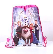 1pcs Disney Frozen Bag Theme Freezing Anna Elsa Snow Queen Movie  Non-woven Drawstring Bags School Shopping