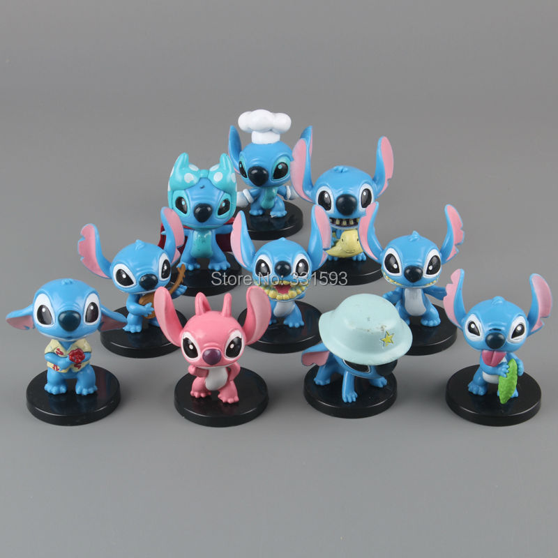 Free Shipping Anime Cartoon Lilo & Stitch Mini PVC Action Figure Toys Dolls Child Toys Gifts 10pcs/set DSFG132 6pcs set disney trolls dolls action figures toys popular anime cartoon the good luck trolls dolls pvc toys for children gift