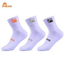 3 пары носков, белые мужские и женские спортивные носки, хлопковые спортивные носки средней длины для тенниса, плотный носок