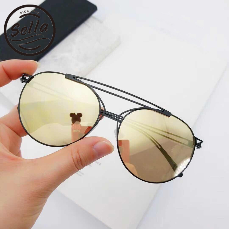 Sella New Arrival Brand Designed Hollow Out Alloy Frame Mirror Lens Sunglasses Fashion Women Men Retro Round Gradient Sun Glasse
