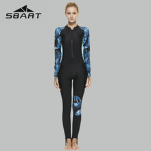 Sbart Women Full Body Wetsuit Sport Swimwear Long Sleeve Diving Suit Patchwork Printing Swimsuit Zipper Sun Protection 2019