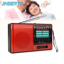 Jinsertaフルバンドラジオfmステレオ/am/sw dspワールドバンドレシーバーで充電式バッテリーヘッドホンジャック