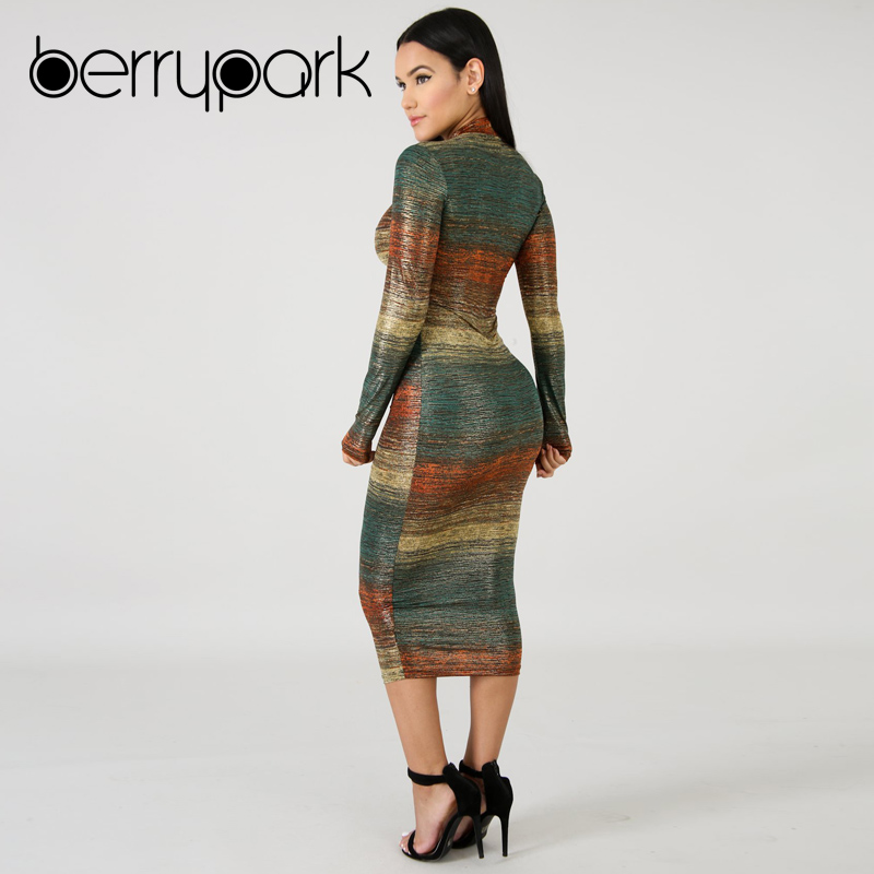 BerryPark Gradient Print Multi Bodycon Dress 2019 Sheath Stretchy Mid Dresses 4