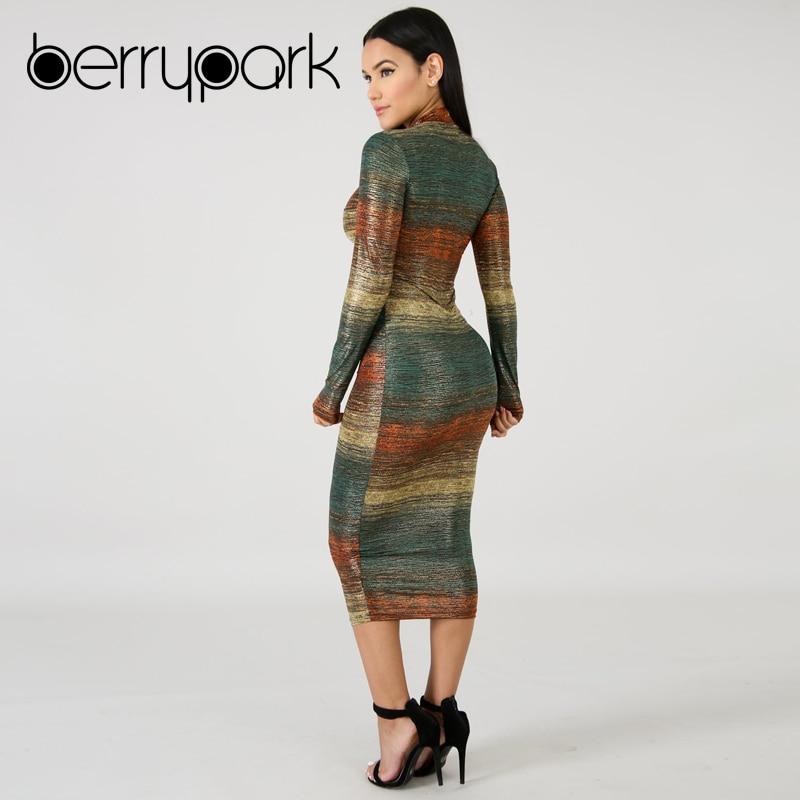 BerryPark Gradient Print Multi Bodycon Dress 2019 Sheath Stretchy Mid Dresses 4