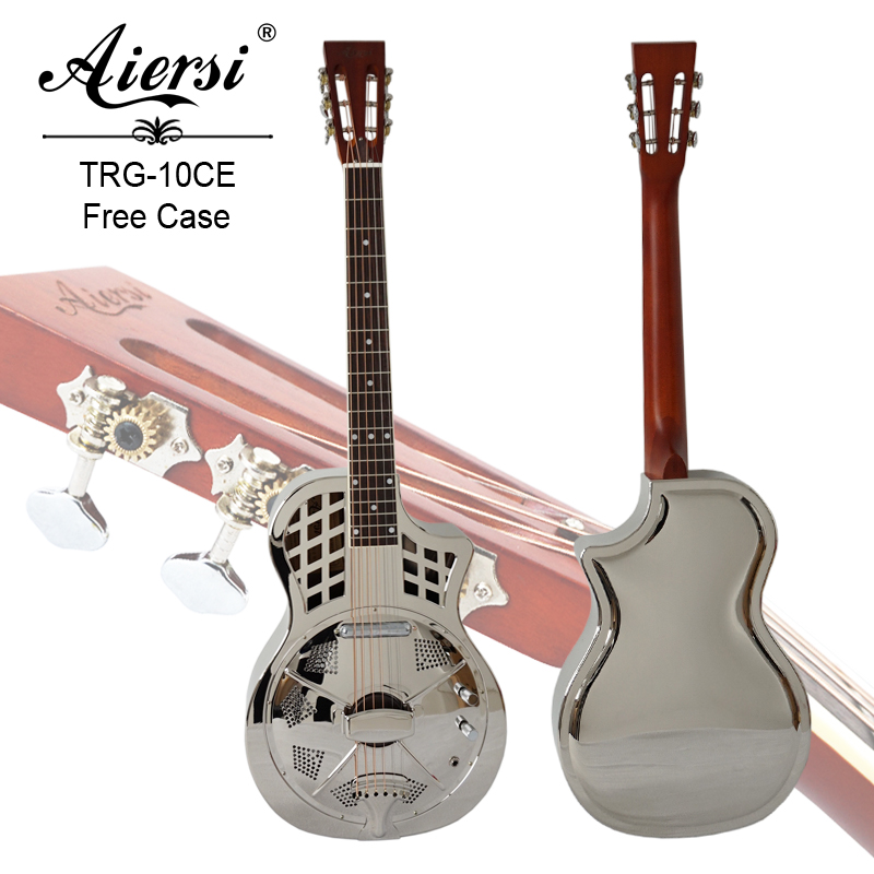 Aiersi Cutway Bell Brass Body Parlour Electric Resonator Guitar with free Case and strap performance cutway classic guitar with hard case