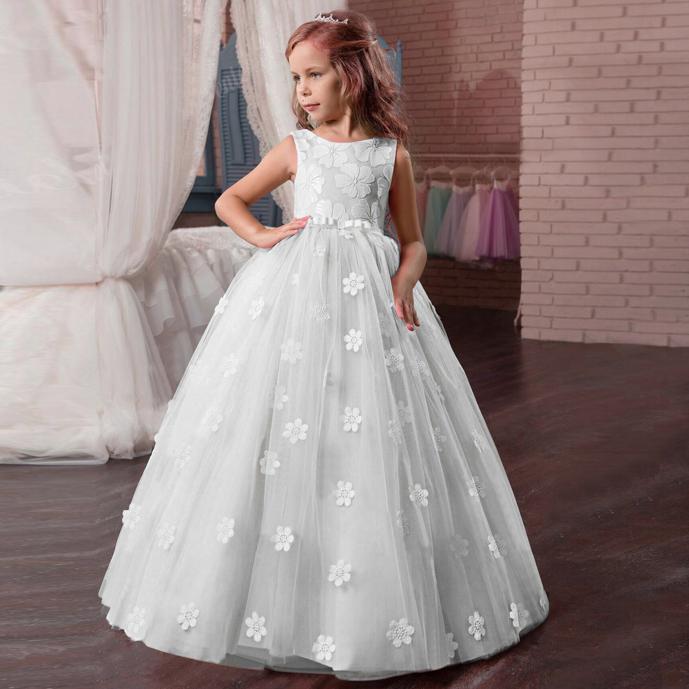 Flower Girls Dresses 2018 Tule Princess Party Formal Dress Teen Child Wedding White Prom Pageant Gowns For Kids Evening Clothing (4)
