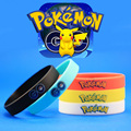 Hot Sale 12*2cm 5 pcs/lot New Pokemon Go Wristband Pocket Monsters Pikachu Squirtle Printed Silicone Band 5 Colors Free Shipping
