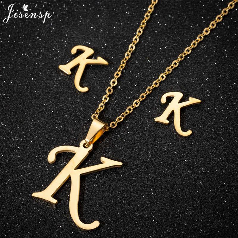 Jisensp شخصية A-Z إلكتروني الأبجدية عُقد ذهبي بدلاية سلسلة الأولي القلائد Charms للنساء مجوهرات دروبشيبينغ