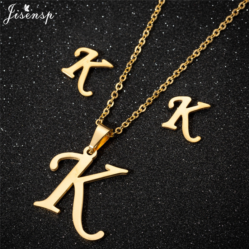 Jisensp Personalize A-Z Letter Alphabet Pendant Necklace Gold Chain Initial Necklaces Charms for Women Jewelry Dropshipping