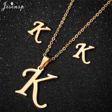 Jisensp Personalized A-Z Letter Alphabet Pendant Necklace Gold Chain Initial Necklaces Charms for Women Jewelry Dropshipping a z fashion personalized capital letter corrugated shape alphabet pendant necklace gold color chain initial necklaces for women