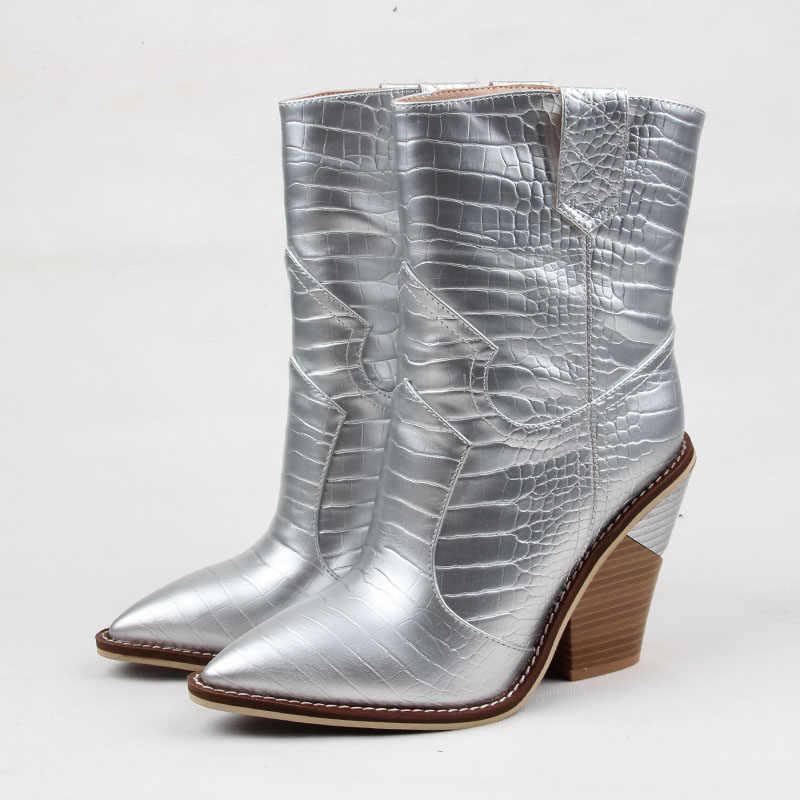 2019 Moda Cowgirl çizmeler kadın ayakkabıları Kış Batı Kovboy yarım çizmeler Sivri Burun Ekleme Payetli PU deri ayakkabı Kadın